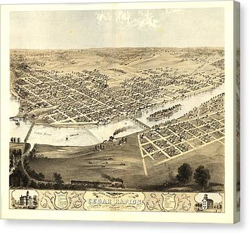 Cedar Rapids Iowa 1868 Canvas Print by Mountain Dreams