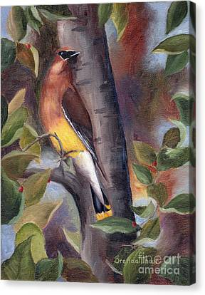 Canvas Print featuring the painting Cedar Waxwing by Brenda Thour