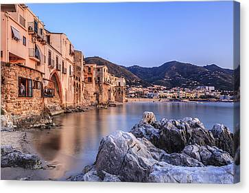 Cefalu Harbour, Sicily, Italy Canvas Print by Slow Images