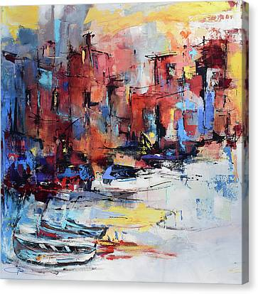 Port Town Canvas Print - Cefalu Seaside by Elise Palmigiani