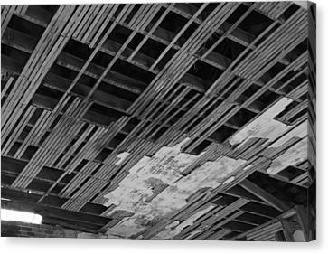 Ceiling Laths Bw Canvas Print by Jeff Roney