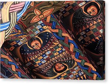 Ceiling Paintings In Abba Pantaleon  Canvas Print by Aidan Moran