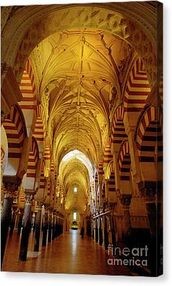 Ceilings Inside The Catedral De Cordoba Canvas Print by Sami Sarkis