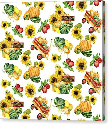 Celebrate Abundance Harvest Half Drop Repeat Canvas Print by Audrey Jeanne Roberts