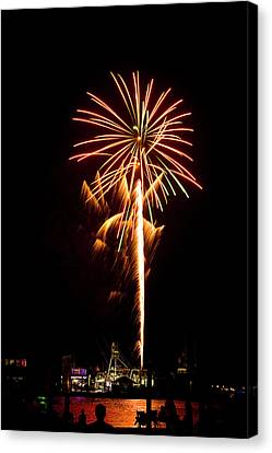 Canvas Print featuring the photograph Celebration Fireworks by Bill Barber