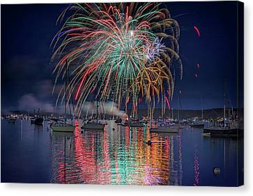 Red Fireworks Canvas Print - Celebration In Boothbay Harbor by Rick Berk