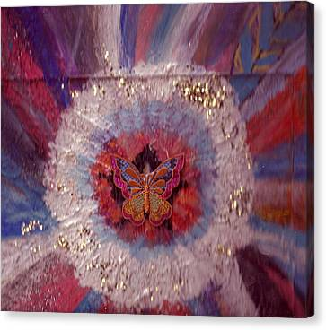 Celebration Of Life With  A Butterfly In The Middle Canvas Print by Anne-Elizabeth Whiteway