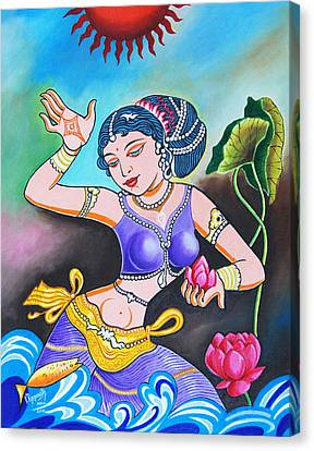 Canvas Print featuring the painting Celebration Of Woman by Ragunath Venkatraman
