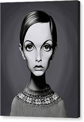 Celebrity Sunday - Twiggy Canvas Print by Rob Snow