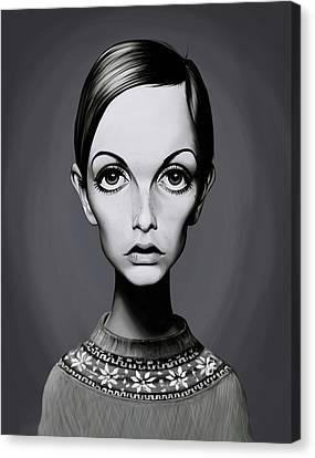 Celebrity Sunday - Twiggy Canvas Print by Rob Snow