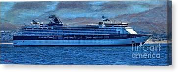 Celebrity X Cruises And Little Sailboat  Canvas Print by Blake Richards