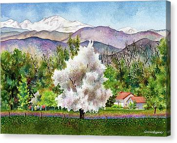 Red Roof Canvas Print - Celeste's Farm by Anne Gifford