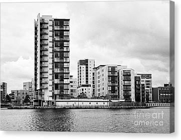 celestia vega and maia houses luxury apartment buildings on roath basin on overcast day Cardiff bay  Canvas Print by Joe Fox