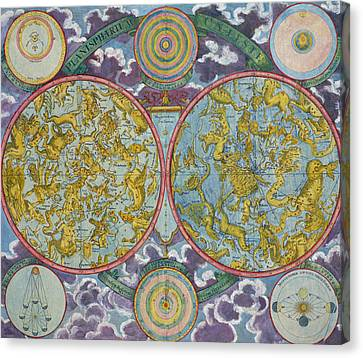The Universe Canvas Print - Celestial Map Of The Planets by Georg Christoph Eimmart
