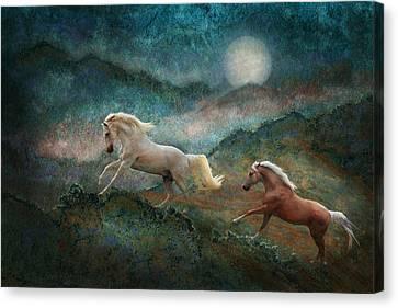 Celestial Stallions Canvas Print by Melinda Hughes-Berland
