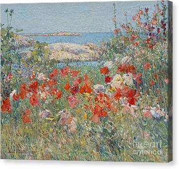 Celia Thaxter's Garden, Isles Of Shoals, Maine, 1890 Canvas Print by Childe Hassam