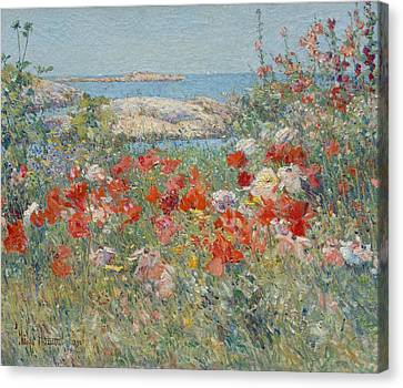 Childe Canvas Print - Celia Thaxter's Garden, Isles Of Shoals, Maine by Childe Hassam