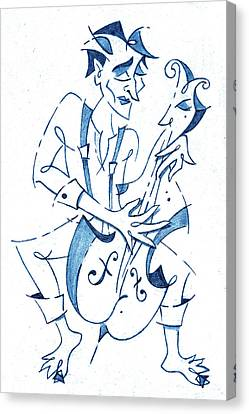 Musique Canvas Print - Cellist Music Player- Sketchbook Blue Pencil Drawing by Arte Venezia