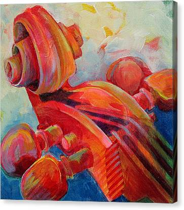Cello Head In Red Canvas Print by Susanne Clark