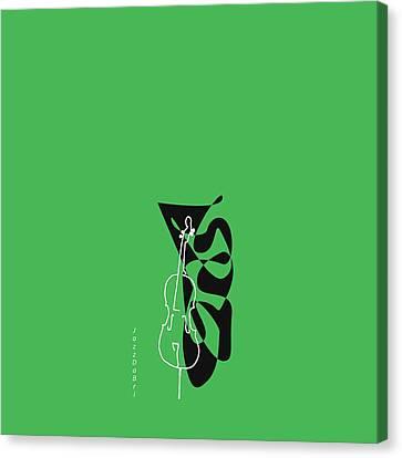 Cello In Green Canvas Print