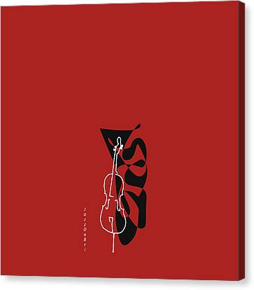 Cello In Orange Red Canvas Print by David Bridburg