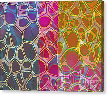 Geometric Artwork Canvas Print - Cells 10 Abstract Painting by Edward Fielding