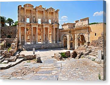 Library Of Celsus Canvas Print - Celsus Library And Gate Of Augustus by Michael Oakes