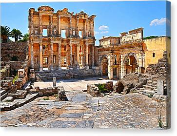 Library Of Celsus Canvas Print - Celsus Library And Gate Of Augustus Poster Edge Effect by Michael Oakes