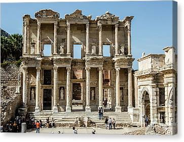 Celsus Library Canvas Print by Kathy McClure