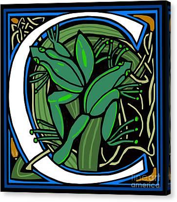 Celt Frog Letter C Canvas Print by Donna Huntriss