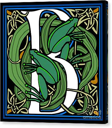 Celt Frogs Letter B Canvas Print by Donna Huntriss