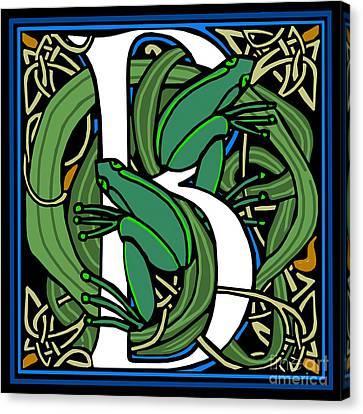 Celt Frogs Letter B Canvas Print