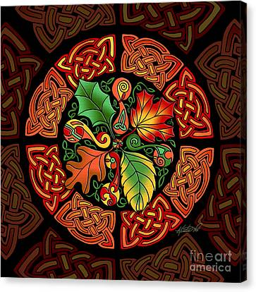 Celtic Autumn Leaves Canvas Print by Kristen Fox