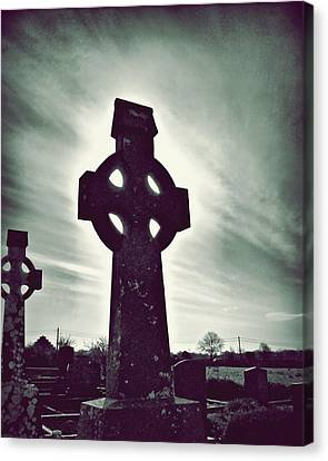 Celtic Crosses In A Graveyard Canvas Print by Patricia Strand