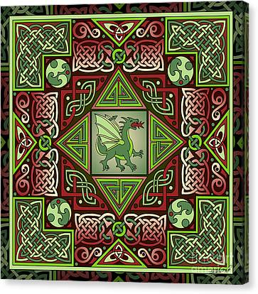Canvas Print featuring the mixed media Celtic Dragon Labyrinth by Kristen Fox