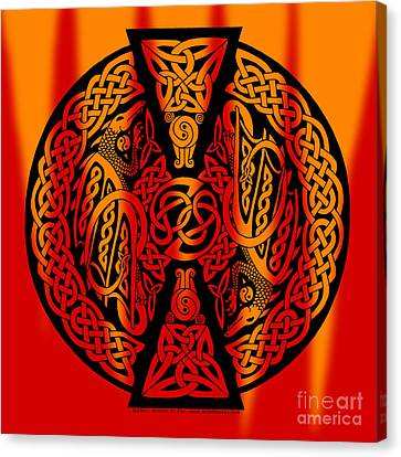 Celtic Dragons Fire Canvas Print by Kristen Fox
