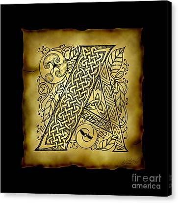 Celtic Letter A Monogram Canvas Print by Kristen Fox