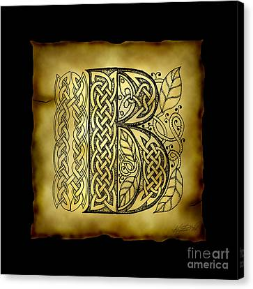 Celtic Letter B Monogram Canvas Print by Kristen Fox
