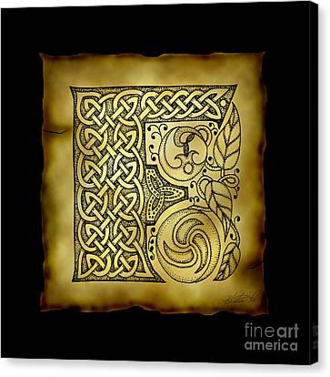Celtic Letter F Monogram Canvas Print