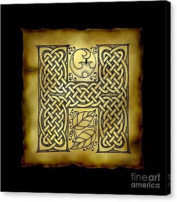 Celtic Letter H Monogram Canvas Print by Kristen Fox