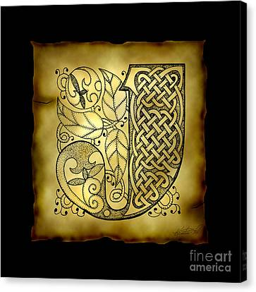Celtic Letter J Monogram Canvas Print by Kristen Fox
