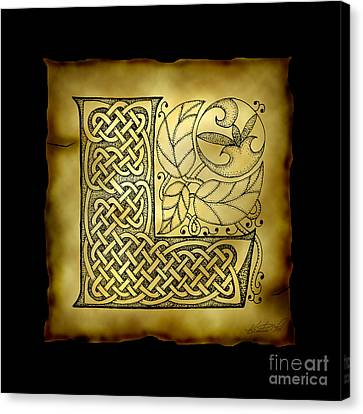 Celtic Letter L Monogram Canvas Print by Kristen Fox