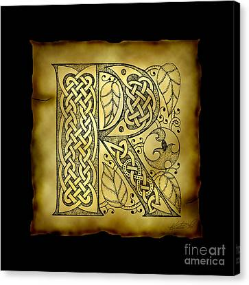 Celtic Letter R Monogram Canvas Print by Kristen Fox