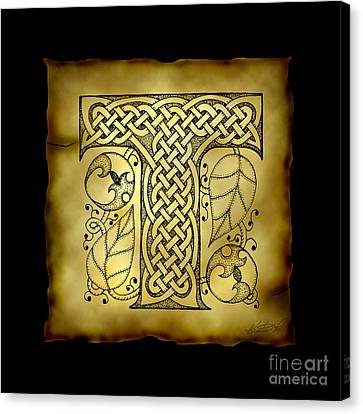 Celtic Letter T Monogram Canvas Print by Kristen Fox