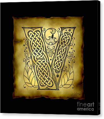 Celtic Letter V Monogram Canvas Print by Kristen Fox