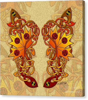 Canvas Print featuring the mixed media Celtic Loose Leaves by Kristen Fox