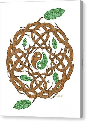 Celtic Nature Yin Yang Canvas Print by Kristen Fox