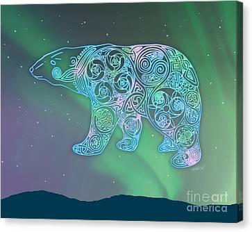 Celtic Polar Bear Canvas Print by Kristen Fox