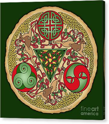 Celtic Reindeer Shield Canvas Print