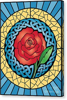 Canvas Print featuring the mixed media Celtic Rose Stained Glass by Kristen Fox
